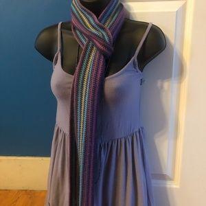 Purple Knit Stripped Scarf